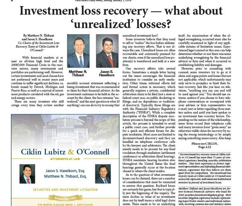 Investment Loss Recovery – What About Unrealized Losses